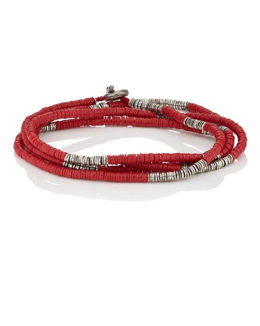 M. Cohen - Red Rondelle-bead Wrap Bracelet for Men - Lyst