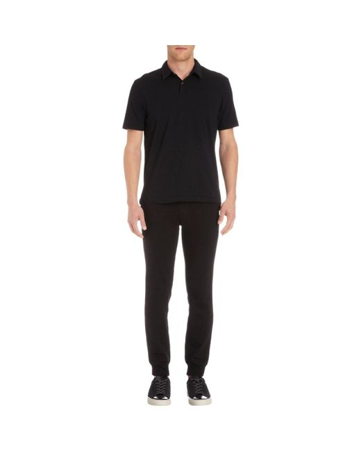 James Perse | Black Jersey Polo Shirt for Men | Lyst