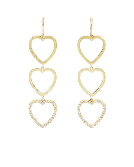 Jennifer Meyer - Metallic Diamond Three-open-heart Drop Earrings - Lyst