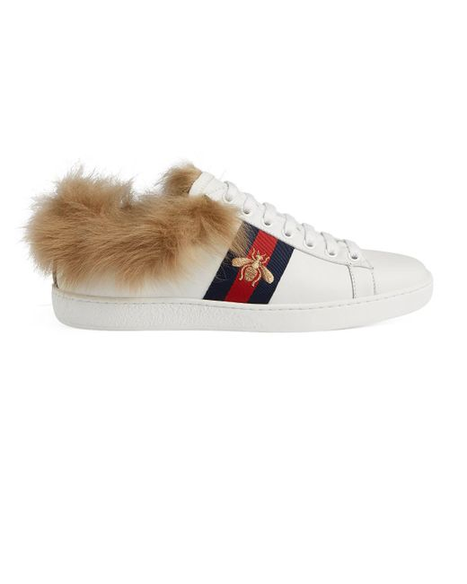 e19e74ac841 Gucci - White New Ace Fur-lined Sneakers - Lyst ...