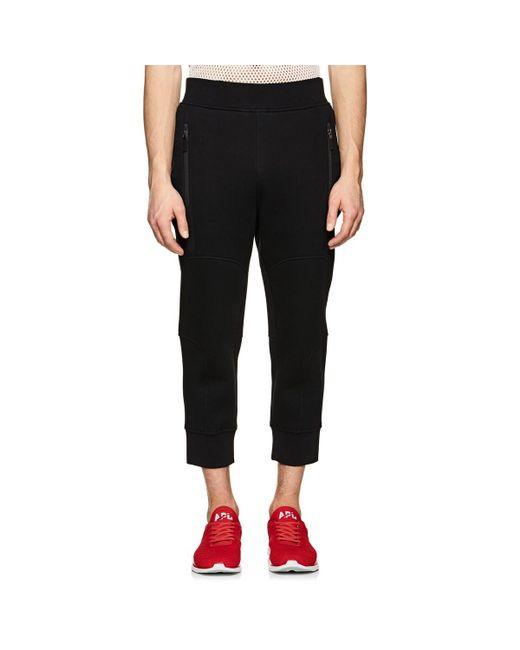 Neil Barrett - Black Cotton-blend Neoprene Crop Jogger Pants for Men - Lyst