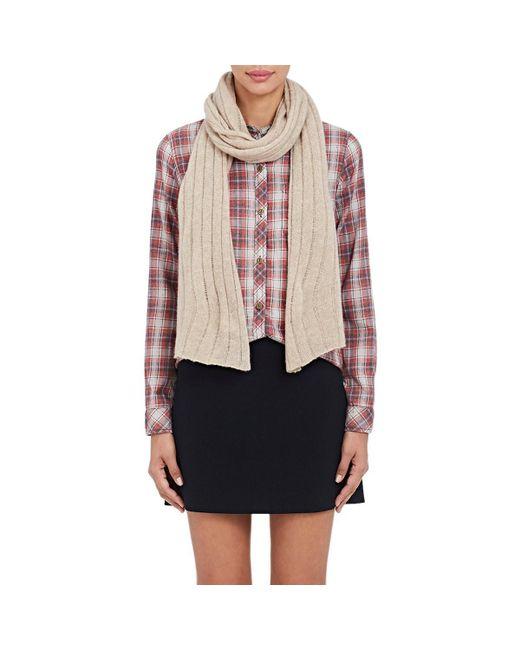 Barneys New York - Natural Rib-knit Cashmere-silk Scarf - Lyst