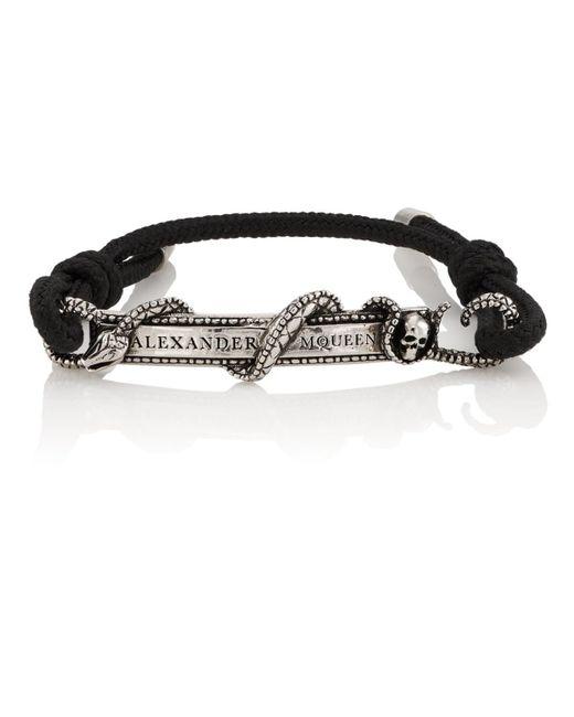 Alexander McQueen - Black Snake & Skull Bracelet for Men - Lyst