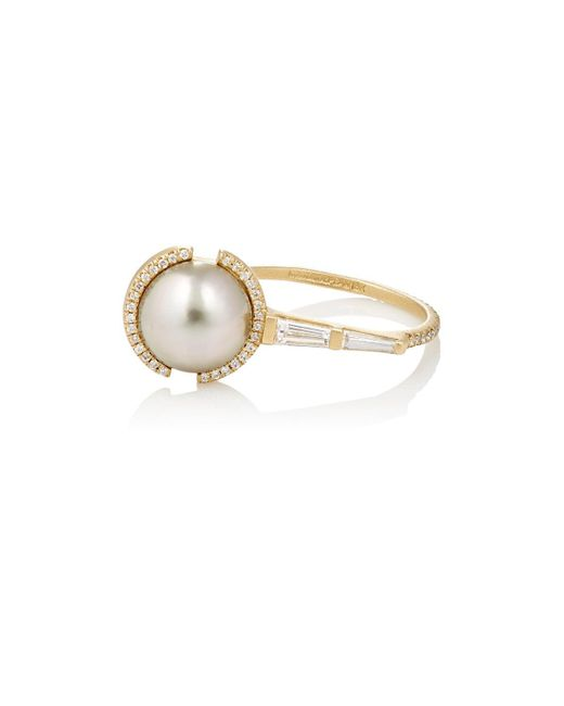 Monique Péan - Metallic White Diamond & Tahitian Pearl Ring - Lyst