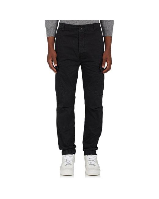 Officine Generale - Black Cotton Slim Cargo Pants for Men - Lyst