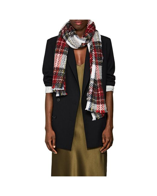 Barneys New York - Red Plaid Cashmere-blend Scarf - Lyst