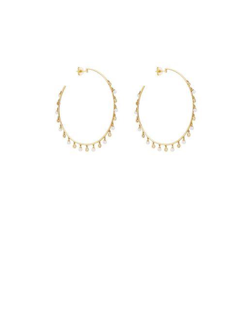 Samira 13 - Metallic Diamond & Pearl Hoop Earrings - Lyst
