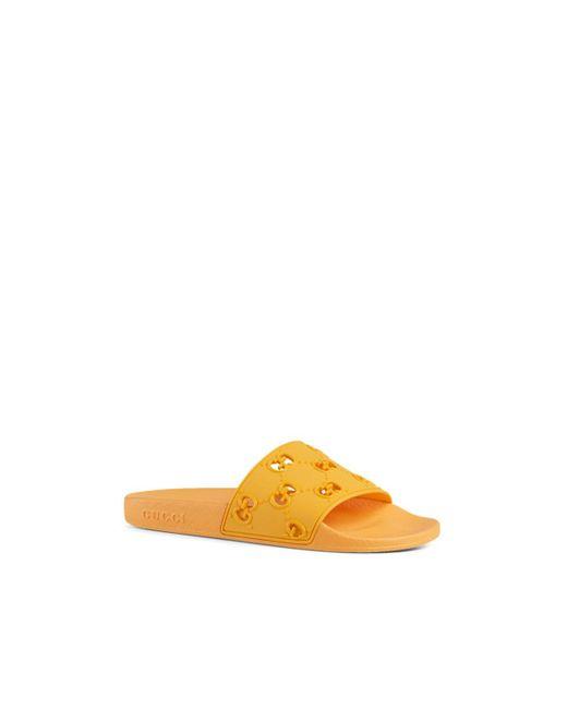 ee821426a ... Gucci - Orange Pursuit Rubber Slide Sandals - Lyst ...