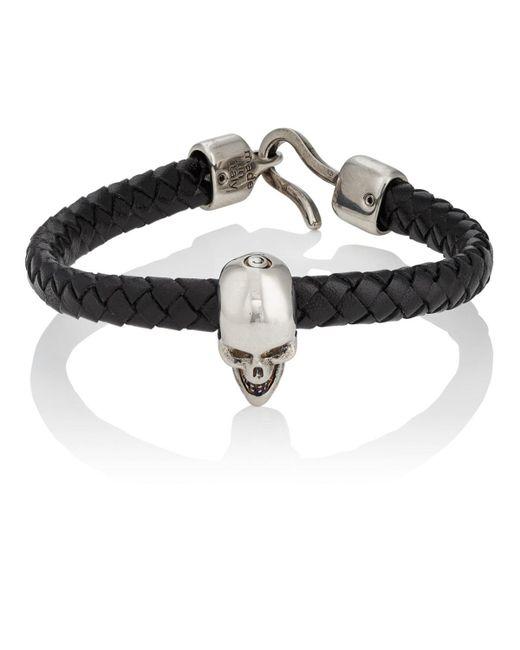 Alexander McQueen - Black Braided Leather Skull Bracelet for Men - Lyst