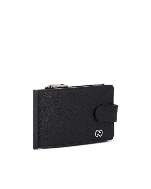 1792e8fff ... Gucci - Black Callarius Leather Money Clip Wallet for Men - Lyst ...