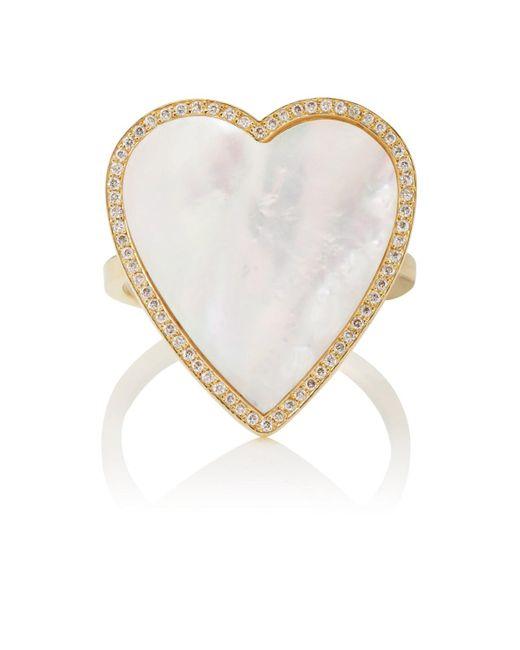 Jennifer Meyer - White Mother-of-pearl & Diamond Heart Ring - Lyst