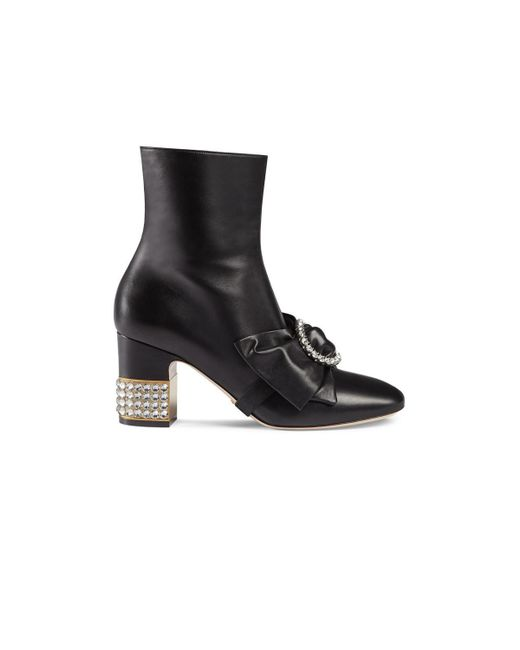 Gucci - Black Stone Ankle Boots - Lyst