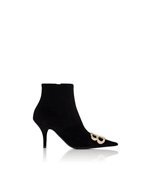 Balenciaga - Black Velour Ankle Booties - Lyst