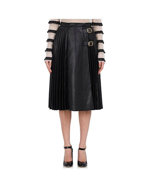 Philosophy Di Lorenzo Serafini - Black Pleated Leather Midi - Lyst