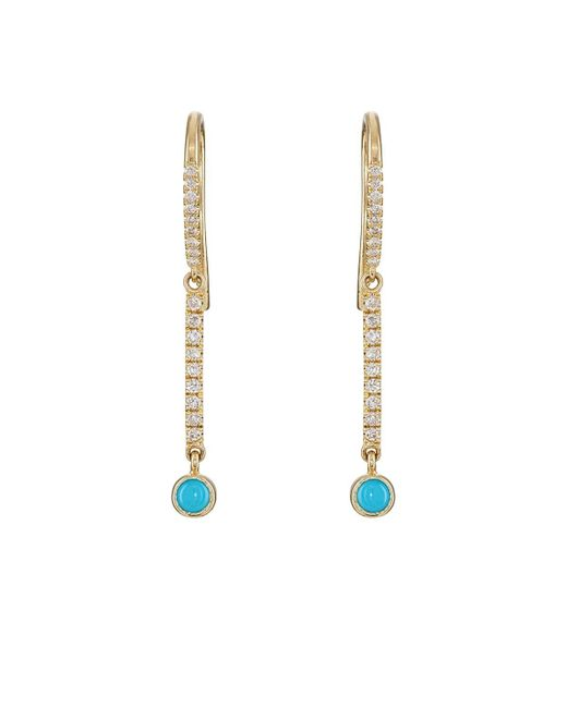 Jennifer Meyer - Metallic Turquoise & Diamond Mini Stick Drop Earrings - Lyst