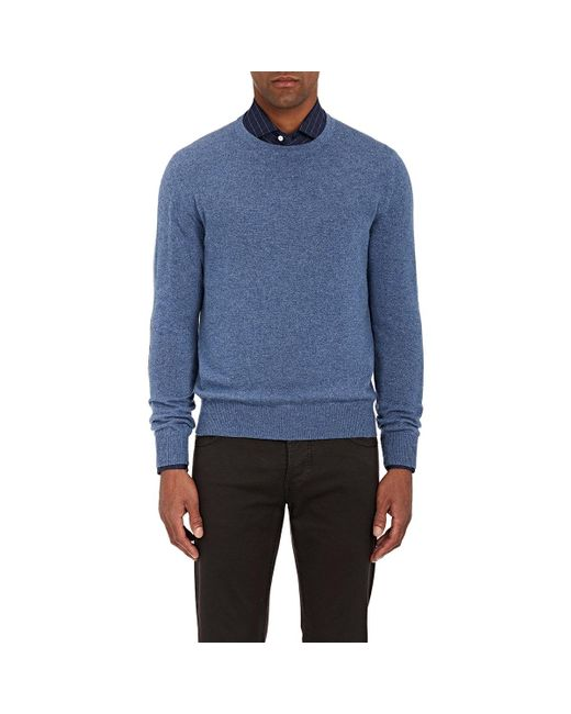 Isaia | Blue Suede Elbow Patch Cashmere Sweater for Men | Lyst