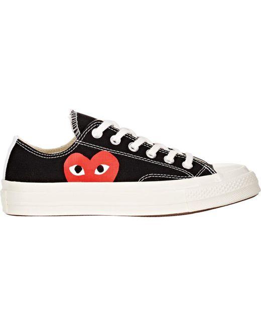 Play Comme des Garçons - White Large Emblem Low Top Canvas Sneakers - Lyst