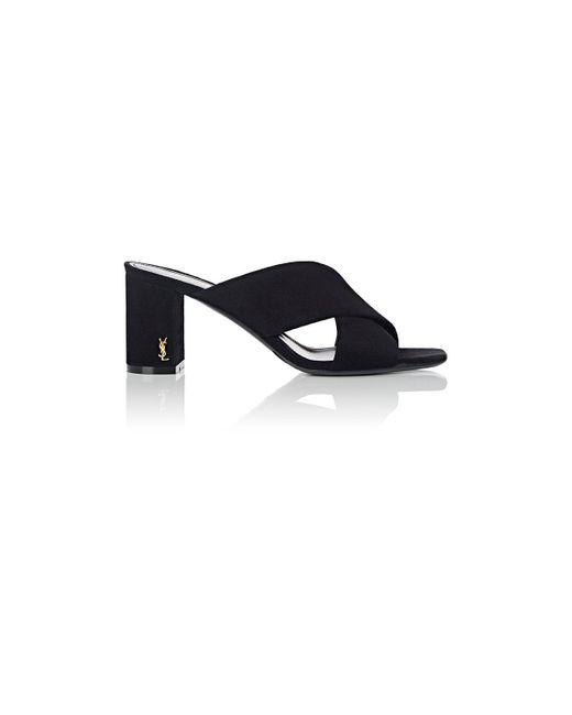 Saint Laurent   Black Loulou Suede Slide Sandals   Lyst