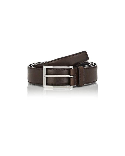 Prada - Brown Grained Leather Belt for Men - Lyst