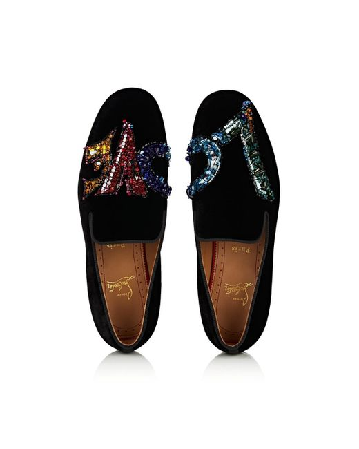 764f152b176c ... Christian Louboutin - Black Rollerlove Velvet Venetian Loafers for Men  - Lyst ...