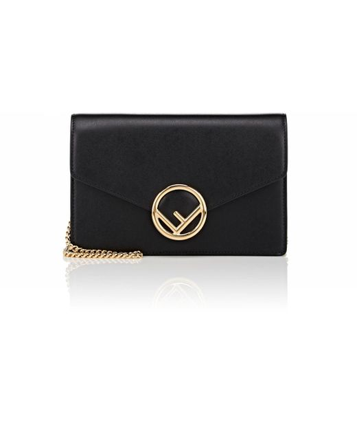 Fendi - Black Medium Leather Wallet-on-chain - Lyst