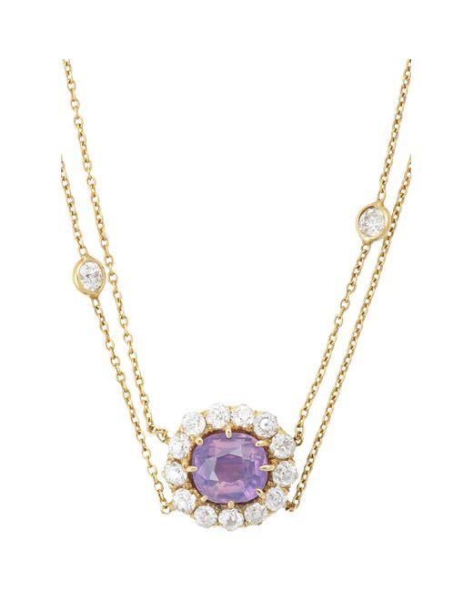 Renee Lewis   Metallic Diamond & Pink Sapphire Flower Pendant Necklace   Lyst