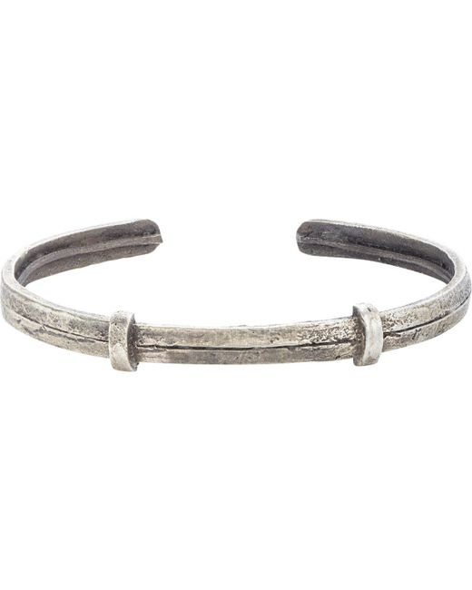 Zadeh | Metallic Textured Silver Cuff for Men | Lyst