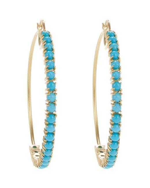 Irene Neuwirth | Blue Turquoise & Gold Hoop Earrings | Lyst
