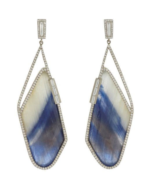 Monique Pean Atelier | Metallic Diamond & Sapphire Slice Earrings | Lyst