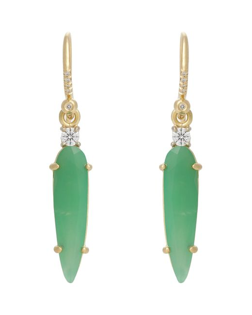 Irene Neuwirth | Green Gemstone Drop Earrings | Lyst