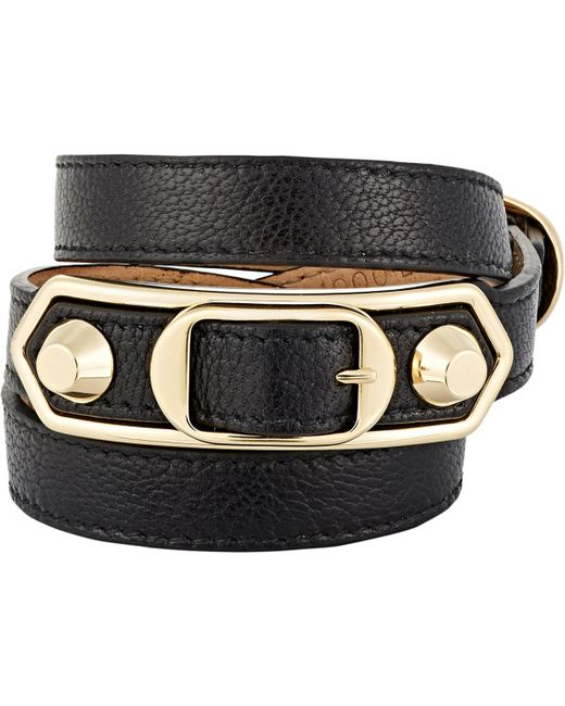 Balenciaga | Black Metallic Edge Double Tour Wrap Bracelet | Lyst