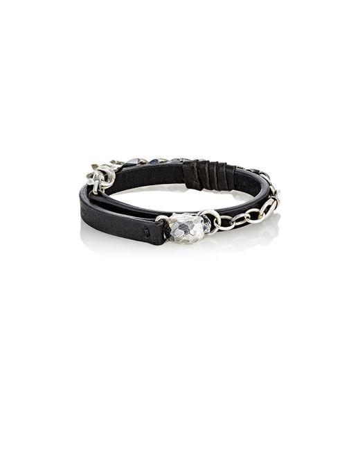 Emanuele Bicocchi | Black Leather & Sterling Silver Wrap Bracelet for Men | Lyst