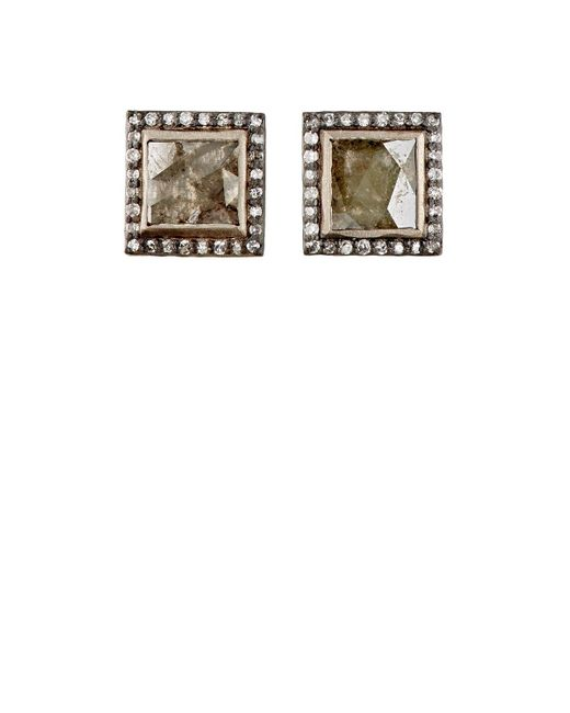 Nak Armstrong   Multicolor Diamond Square Stud Earrings   Lyst