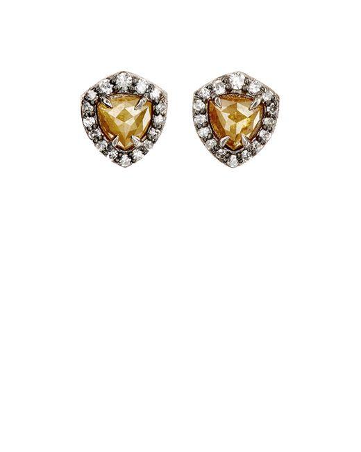 Nak Armstrong | Rustic & Pavé White Diamond Stud Earrings | Lyst