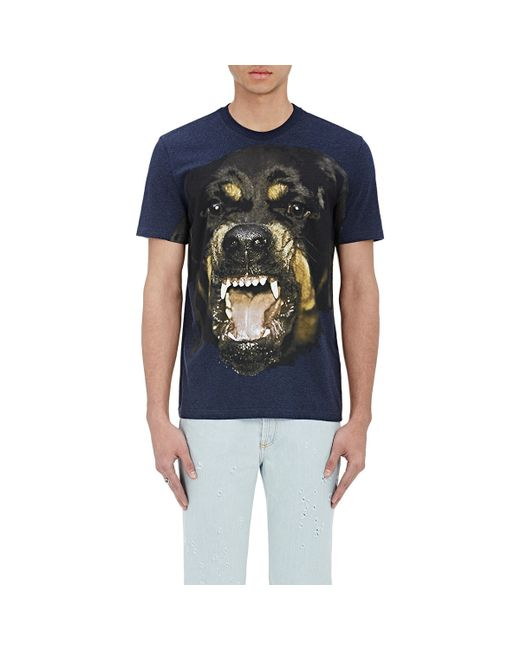Givenchy rottweiler graphic t shirt in blue for men lyst for Givenchy t shirts for sale