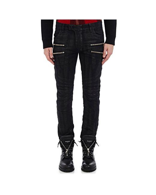 Balmain | Black Waxed Skinny Biker Jeans for Men | Lyst