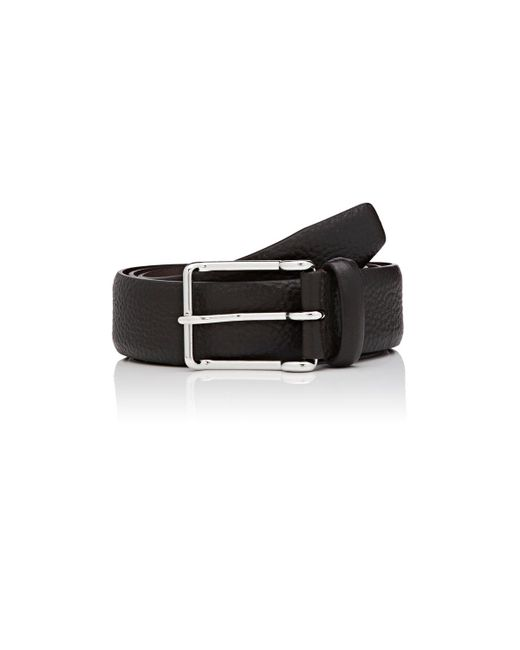 barneys new york pebbled leather belt in brown for lyst