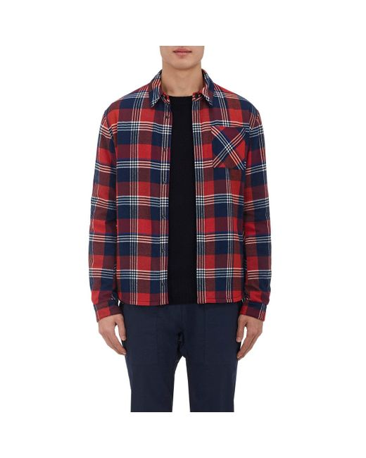 Aztech mountain cotton flannel shirt jacket in red for men for Places to buy flannel shirts