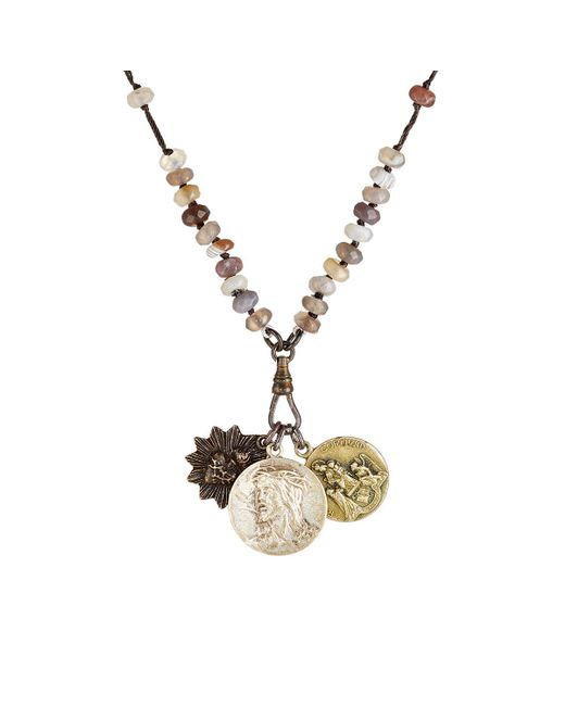 Miracle Icons | Brown Beaded Pendant Necklace | Lyst