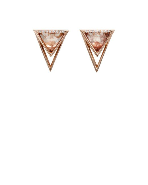 Monique Péan | White Diamond & Sunstone Triangular Stud Earrings | Lyst