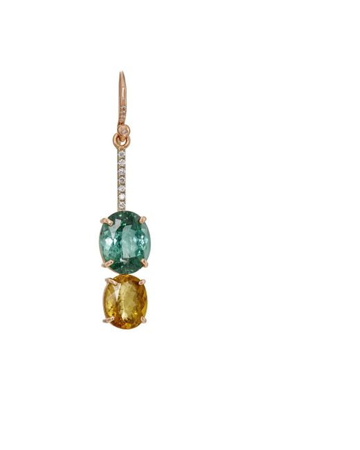Irene Neuwirth   Green Tourmaline & White Diamond Drop Earring   Lyst