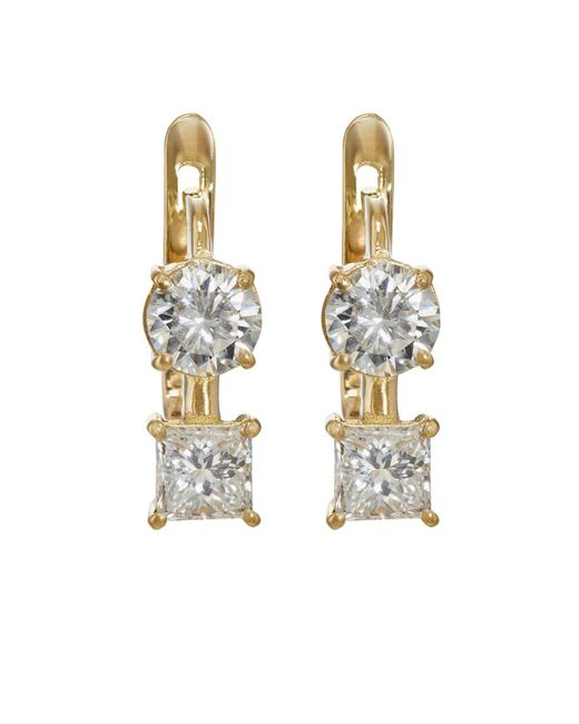 Ileana Makri | Metallic White Diamond Drop Earrings | Lyst