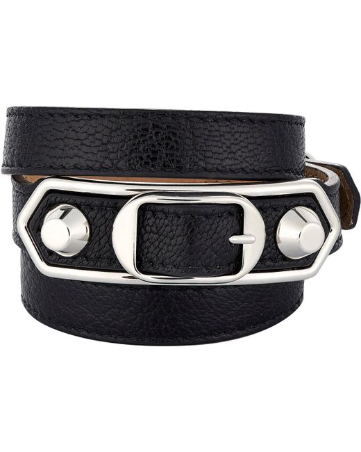 Balenciaga - Black Metallic Edge Double Tour Wrap Bracelet - Lyst