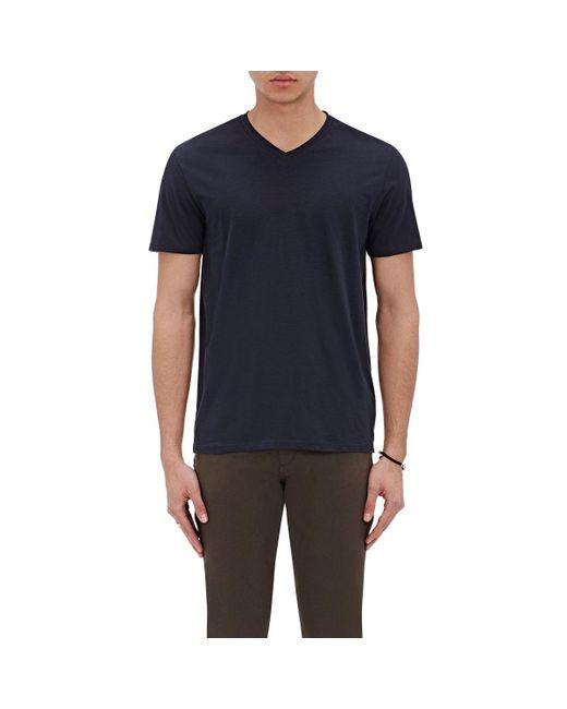 Vince - Blue Pima Cotton V-neck T for Men - Lyst