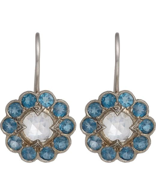 Cathy Waterman   Metallic Floral Drop Earrings   Lyst