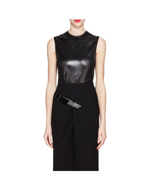 Givenchy - Black Coated Satin Top - Lyst