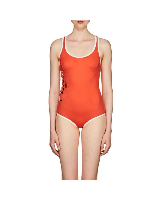 Fendi Red Logo One-piece Swimsuit