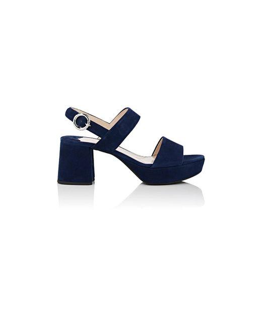 Prada - Blue Suede Double-band Platform Sandals - Lyst