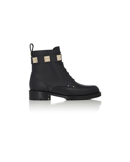 Valentino - Black Lock Leather Combat Ankle Boots - Lyst