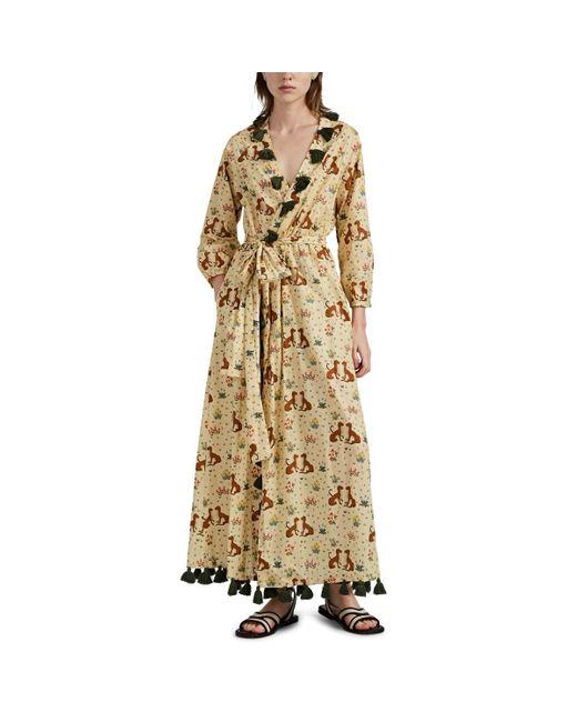 RHODE White Lena Leopard-motif Wrap Dress